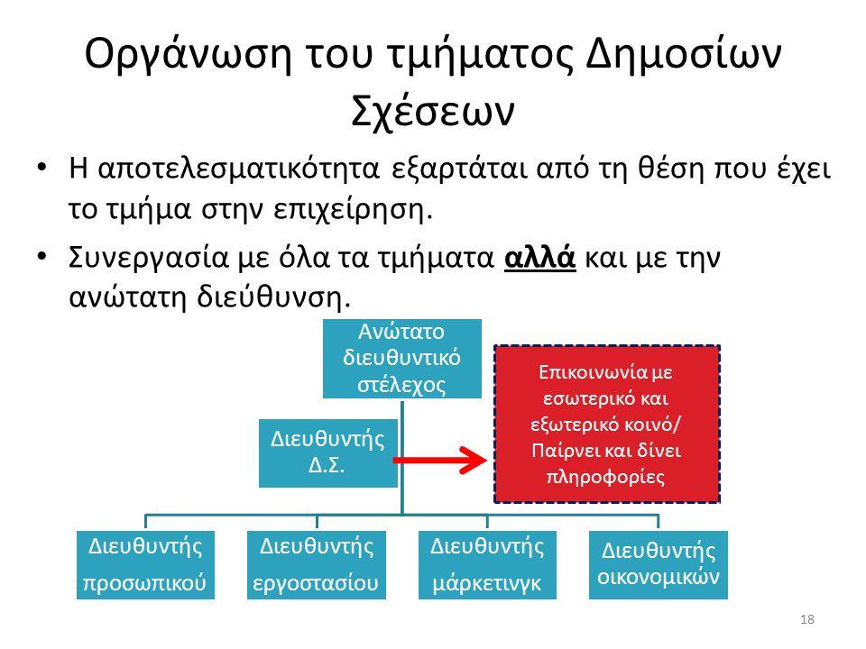Οργάνωση του τμήματος Δημοσίων Σχέσεων Η αποτελεσματικότητα εξαρτάται από τη θέση που έχει το τμήμα στην επιχείρηση.