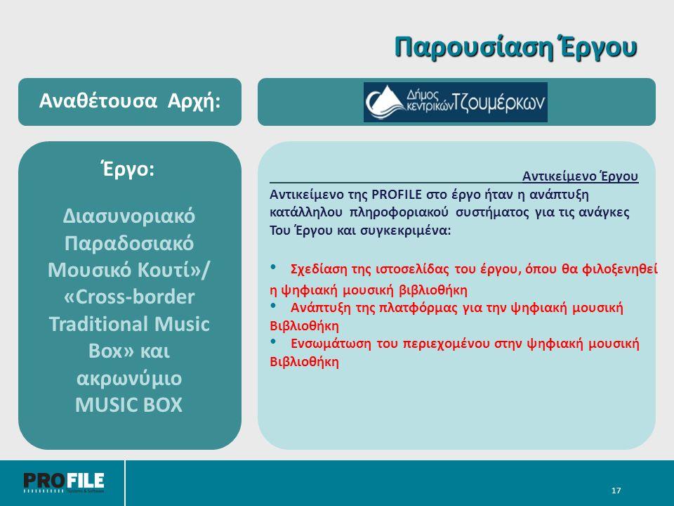 17 Αντικείμενο Έργου Αντικείμενο της PROFILE στο έργο ήταν η ανάπτυξη κατάλληλου πληροφοριακού συστήματος για τις ανάγκες Του Έργου και συγκεκριμένα: Σχεδίαση της ιστοσελίδας του έργου, όπου θα φιλοξενηθεί η ψηφιακή μουσική βιβλιοθήκη Ανάπτυξη της πλατφόρμας για την ψηφιακή μουσική Βιβλιοθήκη Ενσωμάτωση του περιεχομένου στην ψηφιακή μουσική Βιβλιοθήκη Έργο: Διασυνοριακό Παραδοσιακό Μουσικό Κουτί»/ «Cross-border Traditional Music Box» και ακρωνύμιο MUSIC BOX Αναθέτουσα Αρχή: Παρουσίαση Έργου