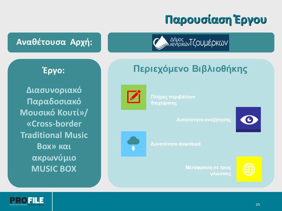 25 Έργο: Διασυνοριακό Παραδοσιακό Μουσικό Κουτί»/ «Cross-border Traditional Music Box» και ακρωνύμιο MUSIC BOX Αναθέτουσα Αρχή: Παρουσίαση Έργου Περιεχόμενο Βιβλιοθήκης Μετάφραση σε τρεις γλώσσες Πλήρες περιβάλλον διαχείρισης Δυνατότητα αναζήτησης Δυνατότητα download
