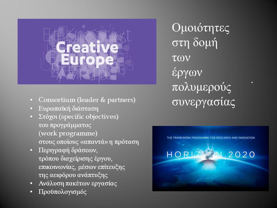 . Ομοιότητες στη δομή των έργων πολυμερούς συνεργασίας Consortium (leader & partners) Ευρωπαϊκή διάσταση Στόχοι (specific objectives) του προγράμματος (work programme) στους οποίους « απαντά » η πρόταση Περιγραφή δράσεων, τρόπου διαχείρισης έργου, επικοινωνίας, μέσων επίτευξης της αειφόρου ανάπτυξης Ανάλυση πακέτων εργασίας Προϋπολογισμός