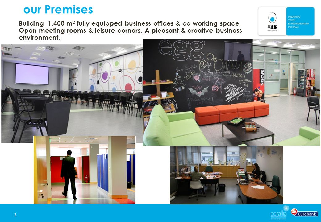 our Premises 3 Building 1.400 m 2 fully equipped business offices & co working space.