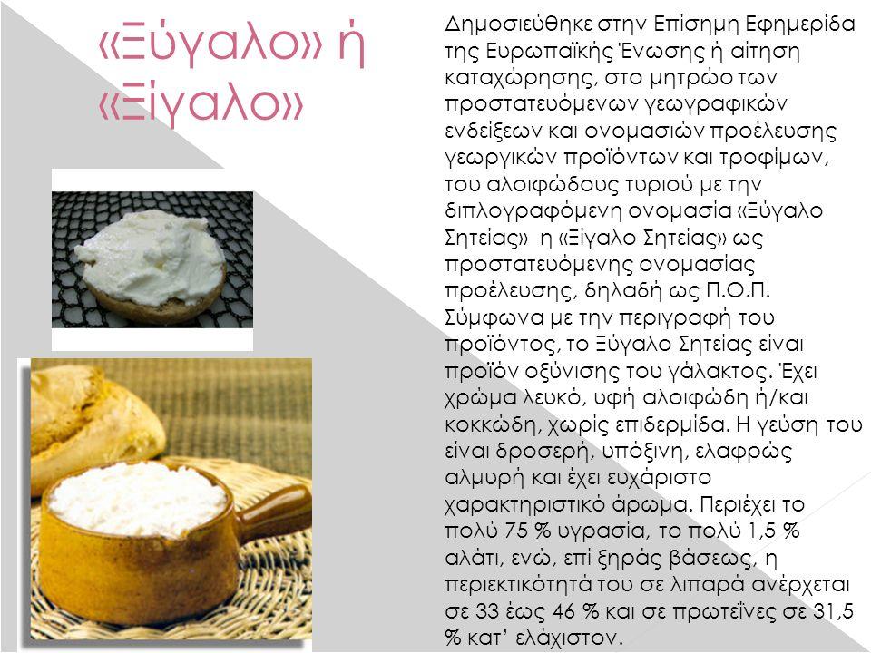 «Ξύγαλο» ή «Ξίγαλο» Δημοσιεύθηκε στην Επίσημη Εφημερίδα της Ευρωπαϊκής Ένωσης ή αίτηση καταχώρησης, στο μητρώο των προστατευόμενων γεωγραφικών ενδείξεων και ονομασιών προέλευσης γεωργικών προϊόντων και τροφίμων, του αλοιφώδους τυριού με την διπλογραφόμενη ονομασία «Ξύγαλο Σητείας» η «Ξίγαλο Σητείας» ως προστατευόμενης ονομασίας προέλευσης, δηλαδή ως Π.Ο.Π.