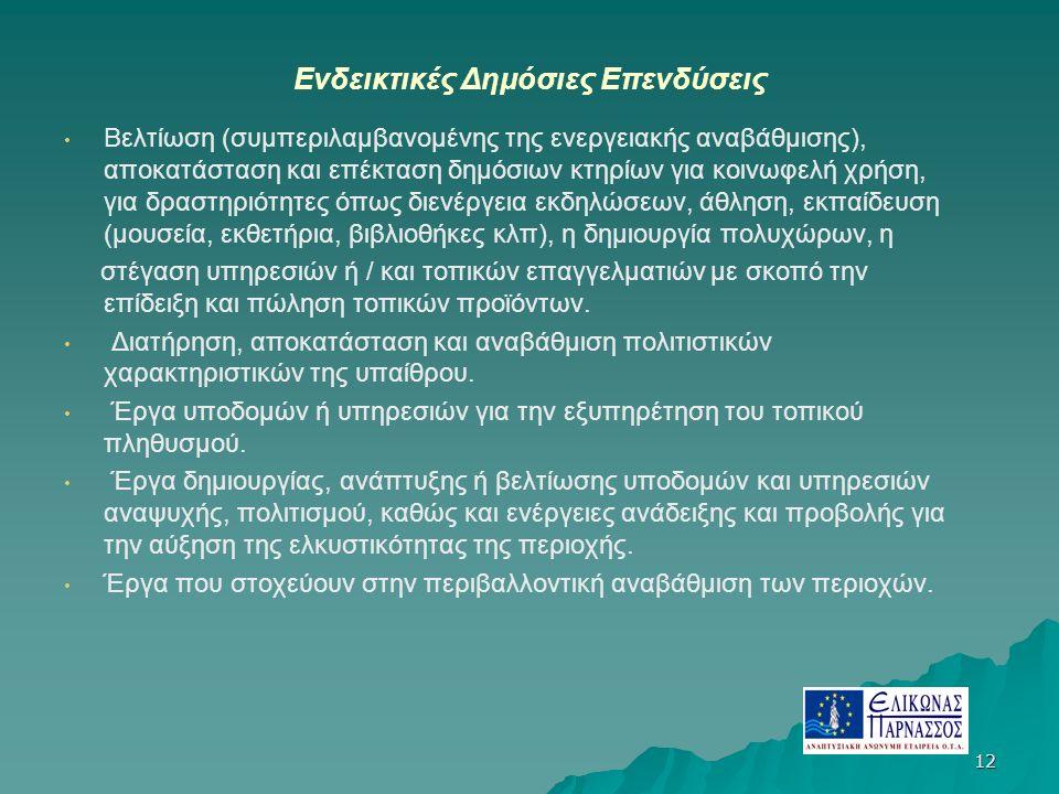 12 Ενδεικτικές Δημόσιες Επενδύσεις Βελτίωση (συμπεριλαμβανομένης της ενεργειακής αναβάθμισης), αποκατάσταση και επέκταση δημόσιων κτηρίων για κοινωφελή χρήση, για δραστηριότητες όπως διενέργεια εκδηλώσεων, άθληση, εκπαίδευση (μουσεία, εκθετήρια, βιβλιοθήκες κλπ), η δημιουργία πολυχώρων, η στέγαση υπηρεσιών ή / και τοπικών επαγγελματιών με σκοπό την επίδειξη και πώληση τοπικών προϊόντων.