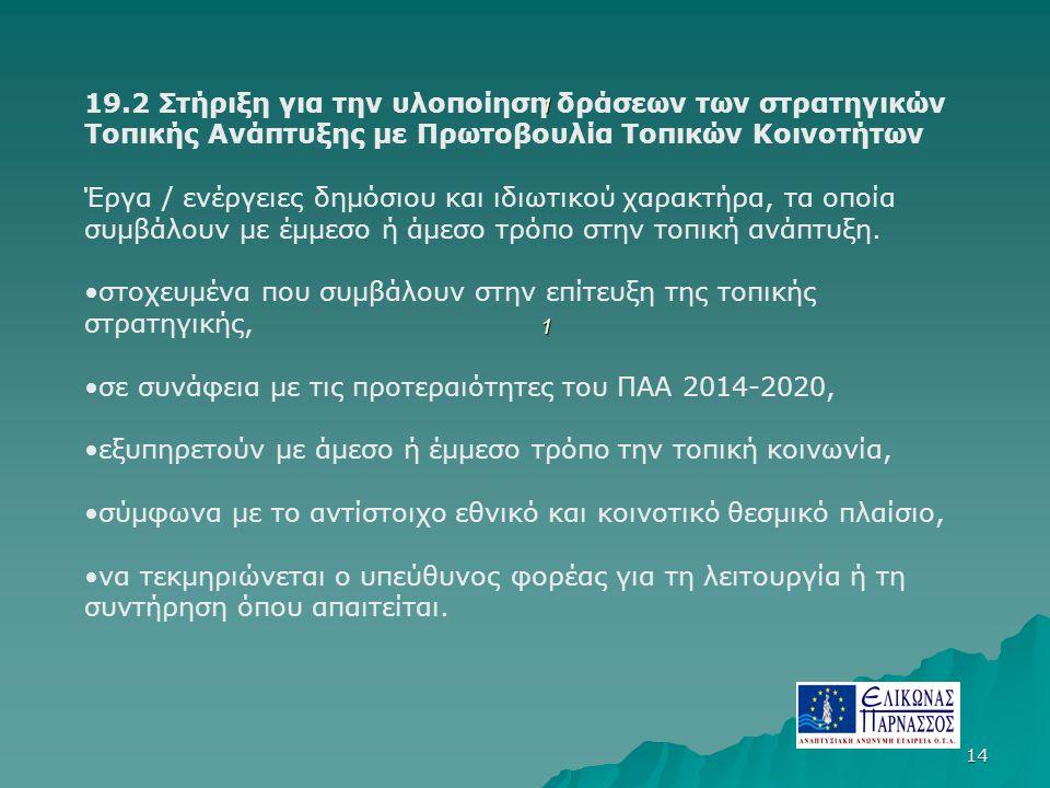 14 11111111 19.2 Στήριξη για την υλοποίηση δράσεων των στρατηγικών Τοπικής Ανάπτυξης με Πρωτοβουλία Τοπικών Κοινοτήτων Έργα / ενέργειες δημόσιου και ιδιωτικού χαρακτήρα, τα οποία συμβάλουν με έμμεσο ή άμεσο τρόπο στην τοπική ανάπτυξη.