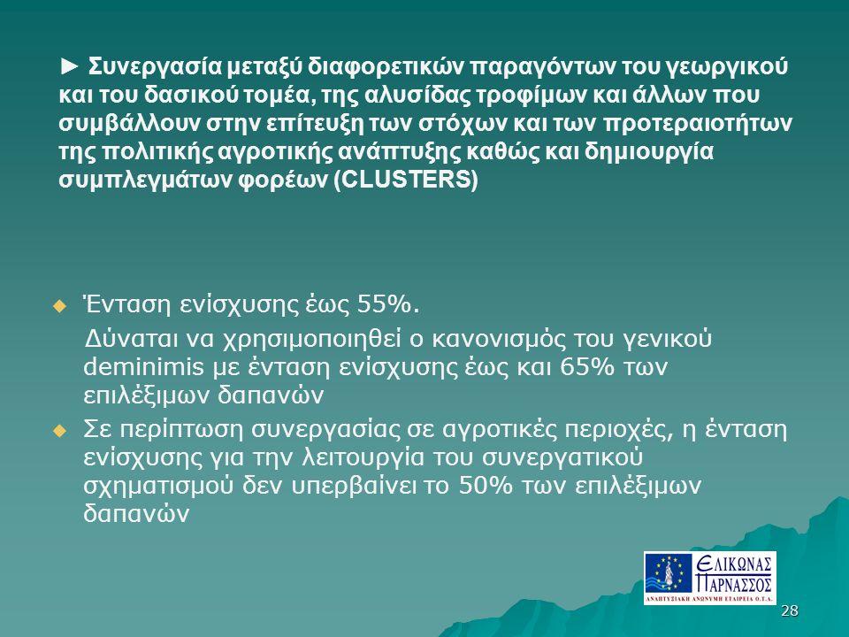 ► Συνεργασία μεταξύ διαφορετικών παραγόντων του γεωργικού και του δασικού τομέα, της αλυσίδας τροφίμων και άλλων που συμβάλλουν στην επίτευξη των στόχων και των προτεραιοτήτων της πολιτικής αγροτικής ανάπτυξης καθώς και δημιουργία συμπλεγμάτων φορέων (CLUSTERS)   Ένταση ενίσχυσης έως 55%.