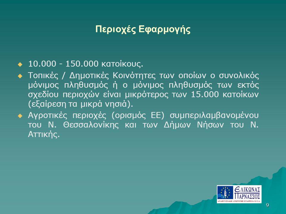 9 Περιοχές Εφαρμογής   10.000 - 150.000 κατοίκους.