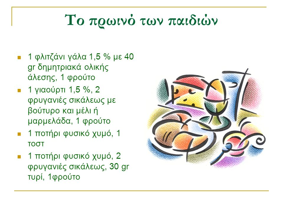 Το πρωινό των παιδιών 1 φλιτζάνι γάλα 1,5 % με 40 gr δημητριακά ολικής άλεσης, 1 φρούτο 1 γιαούρτι 1,5 %, 2 φρυγανιές σικάλεως με βούτυρο και μέλι ή μαρμελάδα, 1 φρούτο 1 ποτήρι φυσικό χυμό, 1 τοστ 1 ποτήρι φυσικό χυμό, 2 φρυγανιές σικάλεως, 30 gr τυρί, 1φρούτο