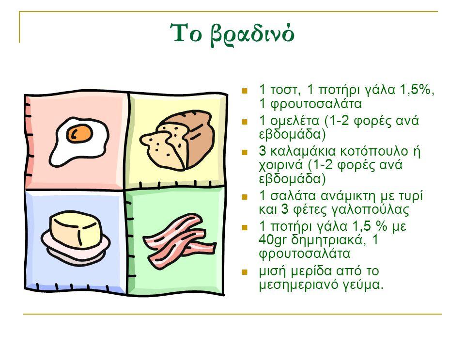 Το βραδινό 1 τοστ, 1 ποτήρι γάλα 1,5%, 1 φρουτοσαλάτα 1 ομελέτα (1-2 φορές ανά εβδομάδα) 3 καλαμάκια κοτόπουλο ή χοιρινά (1-2 φορές ανά εβδομάδα) 1 σαλάτα ανάμικτη με τυρί και 3 φέτες γαλοπούλας 1 ποτήρι γάλα 1,5 % με 40gr δημητριακά, 1 φρουτοσαλάτα μισή μερίδα από το μεσημεριανό γεύμα.