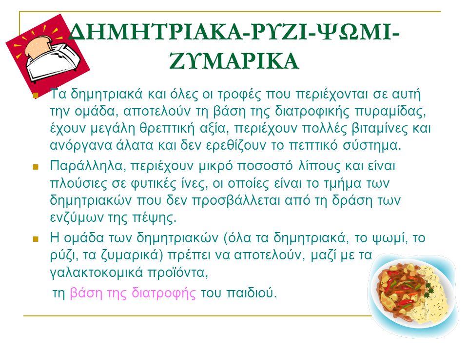 ΔΗΜΗΤΡΙΑΚΑ-ΡΥΖΙ-ΨΩΜΙ- ΖΥΜΑΡΙΚΑ Τα δημητριακά και όλες οι τροφές που περιέχονται σε αυτή την ομάδα, αποτελούν τη βάση της διατροφικής πυραμίδας, έχουν