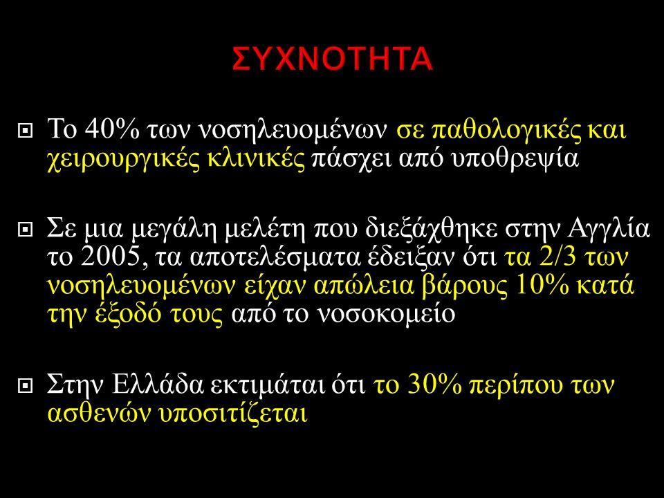  Το 40% των νοσηλευομένων σε παθολογικές και χειρουργικές κλινικές πάσχει από υποθρεψία  Σε μια μεγάλη μελέτη που διεξάχθηκε στην Αγγλία το 2005, τα αποτελέσματα έδειξαν ότι τα 2/3 των νοσηλευομένων είχαν απώλεια βάρους 10% κατά την έξοδό τους από το νοσοκομείο  Στην Ελλάδα εκτιμάται ότι το 30% περίπου των ασθενών υποσιτίζεται