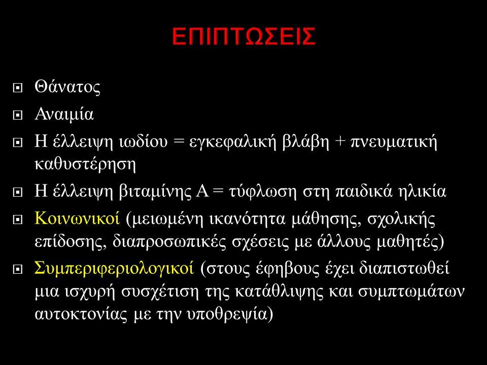  Θάνατος  Αναιμία  Η έλλειψη ιωδίου = εγκεφαλική βλάβη + πνευματική καθυστέρηση  Η έλλειψη βιταμίνης Α = τύφλωση στη παιδικά ηλικία  Κοινωνικοί ( μειωμένη ικανότητα μάθησης, σχολικής επίδοσης, διαπροσωπικές σχέσεις με άλλους μαθητές )  Συμπεριφεριολογικοί ( στους έφηβους έχει διαπιστωθεί μια ισχυρή συσχέτιση της κατάθλιψης και συμπτωμάτων αυτοκτονίας με την υποθρεψία )