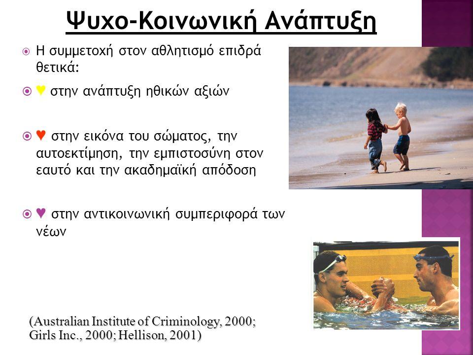 Ψυχο-Κοινωνική Ανάπτυξη  Η συμμετοχή στον αθλητισμό επιδρά θετικά:  ♥ στην ανάπτυξη ηθικών αξιών  ♥ στην εικόνα του σώματος, την αυτοεκτίμηση, την εμπιστοσύνη στον εαυτό και την ακαδημαϊκή απόδοση  ♥ στην αντικοινωνική συμπεριφορά των νέων (Australian Institute of Criminology, 2000; Girls Inc., 2000; Hellison, 2001)