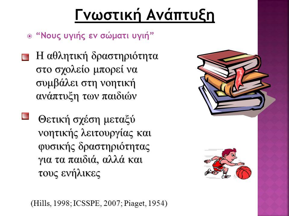 """Γνωστική Ανάπτυξη """"""""Νους υγιής εν σώματι υγιή"""" (Hills, 1998; ICSSPE, 2007; Piaget, 1954) Η αθλητική δραστηριότητα στο σχολείο μπορεί να συμβάλει στη"""