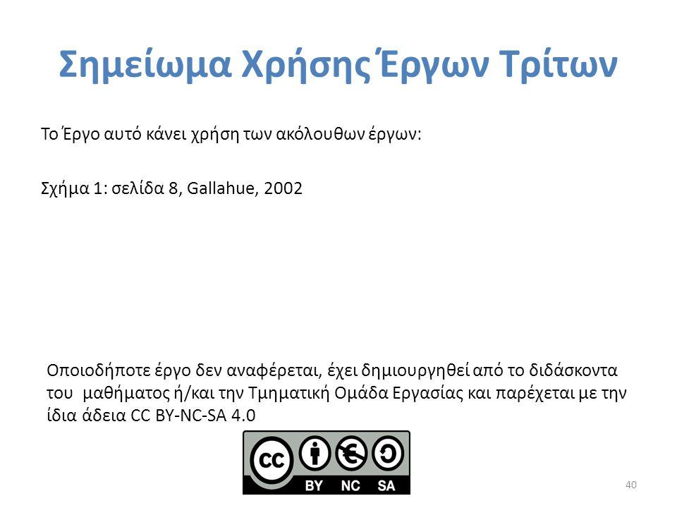 Σημείωμα Χρήσης Έργων Τρίτων Το Έργο αυτό κάνει χρήση των ακόλουθων έργων: Σχήμα 1: σελίδα 8, Gallahue, 2002 40 Οποιοδήποτε έργο δεν αναφέρεται, έχει δημιουργηθεί από το διδάσκοντα του μαθήματος ή/και την Τμηματική Ομάδα Εργασίας και παρέχεται με την ίδια άδεια CC BY-NC-SA 4.0