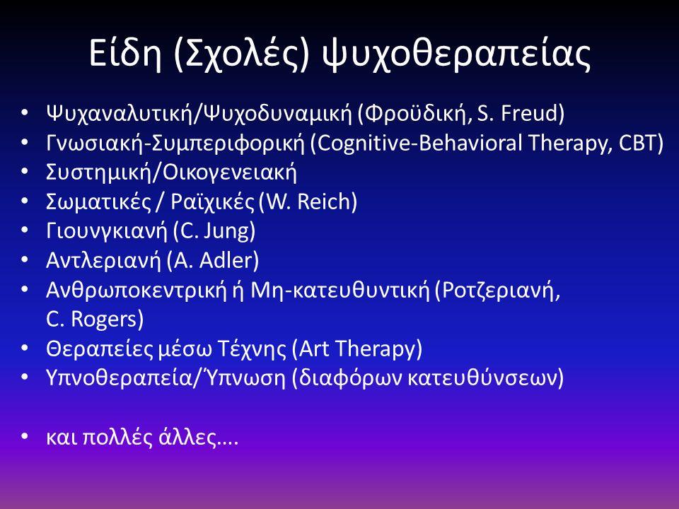 Είδη (Σχολές) ψυχοθεραπείας Ψυχαναλυτική/Ψυχοδυναμική (Φροϋδική, S. Freud) Γνωσιακή-Συμπεριφορική (Cognitive-Behavioral Therapy, CBT) Συστημική/Οικογε
