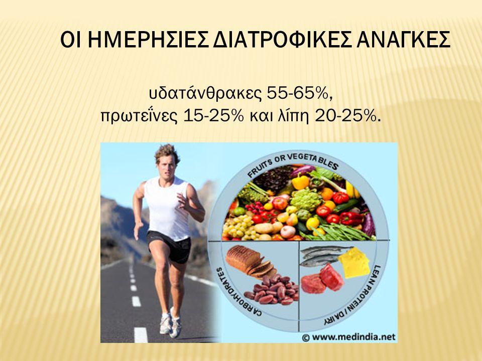 ΟΙ ΗΜΕΡΗΣΙΕΣ ΔΙΑΤΡΟΦΙΚΕΣ ΑΝΑΓΚΕΣ υδατάνθρακες 55-65%, πρωτεΐνες 15-25% και λίπη 20-25%.