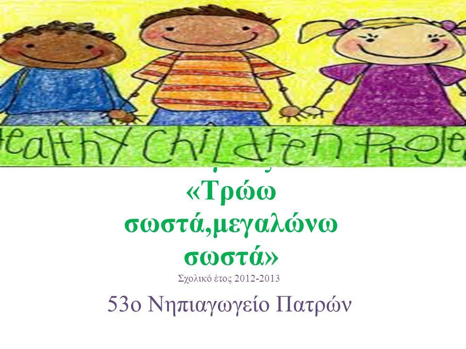 Πρόγραμμα Αγωγής Υγείας «Τρώω σωστά,μεγαλώνω σωστά» Σχολικό έτος 2012-2013 53ο Νηπιαγωγείο Πατρών