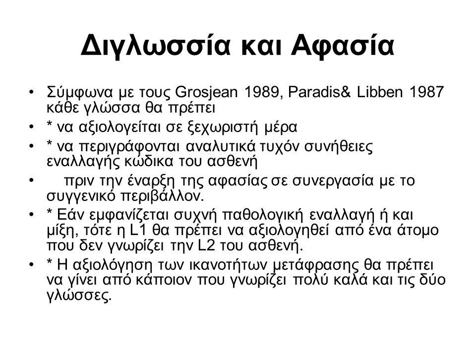 Διγλωσσία και Αφασία Σύμφωνα με τους Grosjean 1989, Paradis& Libben 1987 κάθε γλώσσα θα πρέπει * να αξιολογείται σε ξεχωριστή μέρα * να περιγράφονται αναλυτικά τυχόν συνήθειες εναλλαγής κώδικα του ασθενή πριν την έναρξη της αφασίας σε συνεργασία με το συγγενικό περιβάλλον.