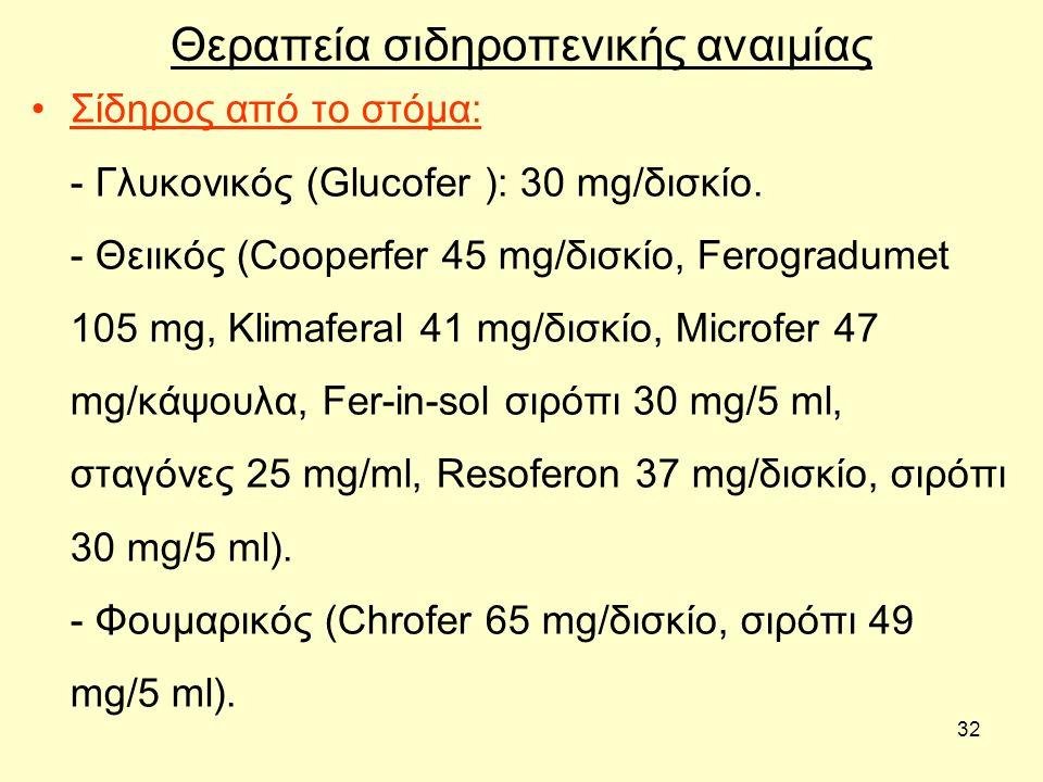 32 Θεραπεία σιδηροπενικής αναιμίας Σίδηρος από το στόμα: - Γλυκονικός (Glucofer ): 30 mg/δισκίο. - Θειικός (Cooperfer 45 mg/δισκίο, Ferogradumet 105 m