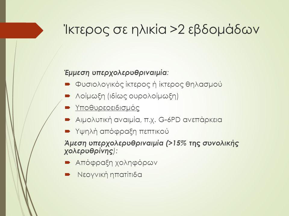 Ίκτερος σε ηλικία >2 εβδομάδων Έμμεση υπερχολερυθριναιμία :  Φυσιολογικός ίκτερος ή ίκτερος θηλασμού  Λοίμωξη (ιδίως ουρολοίμωξη)  Υποθυρεοειδισμός  Αιμολυτική αναιμία, π.χ.