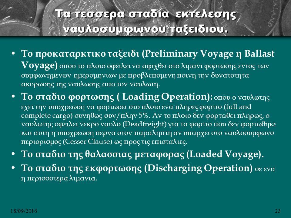 18/09/201623 Τα τεσσερα σταδια εκτελεσης ναυλοσυμφωνου ταξειδιου.