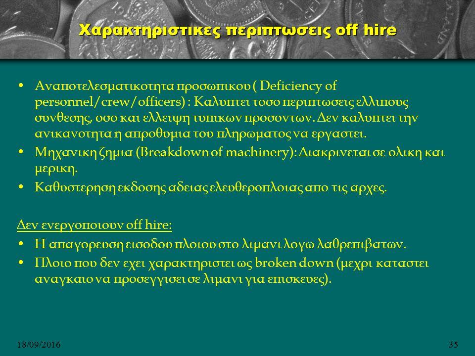 18/09/201635 Χαρακτηριστικες περιπτωσεις off hire Aναποτελεσματικοτητα προσωπικου ( Deficiency of personnel/crew/officers) : Kαλυπτει τοσο περιπτωσεις ελλιπους συνθεσης, οσο και ελλειψη τυπικων προσοντων.