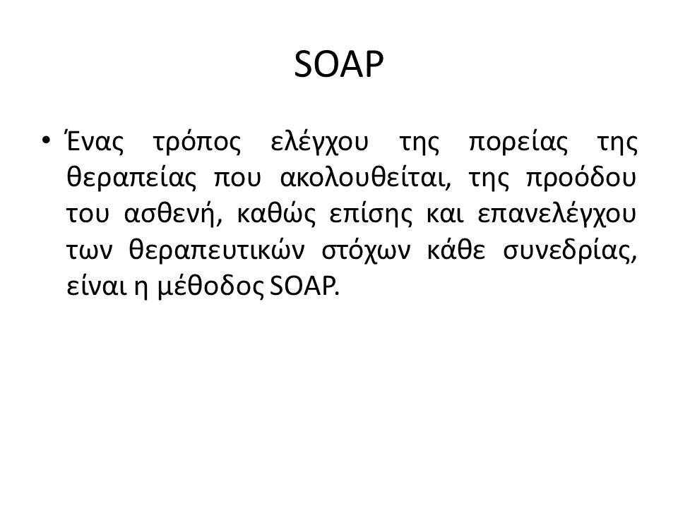 SOAP Ένας τρόπος ελέγχου της πορείας της θεραπείας που ακολουθείται, της προόδου του ασθενή, καθώς επίσης και επανελέγχου των θεραπευτικών στόχων κάθε συνεδρίας, είναι η μέθοδος SOAP.