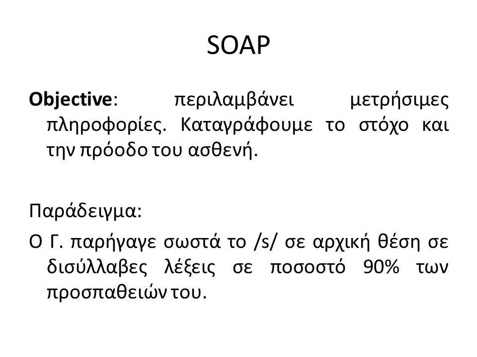 SOAP Objective: περιλαμβάνει μετρήσιμες πληροφορίες. Καταγράφουμε το στόχο και την πρόοδο του ασθενή. Παράδειγμα: Ο Γ. παρήγαγε σωστά το /s/ σε αρχική