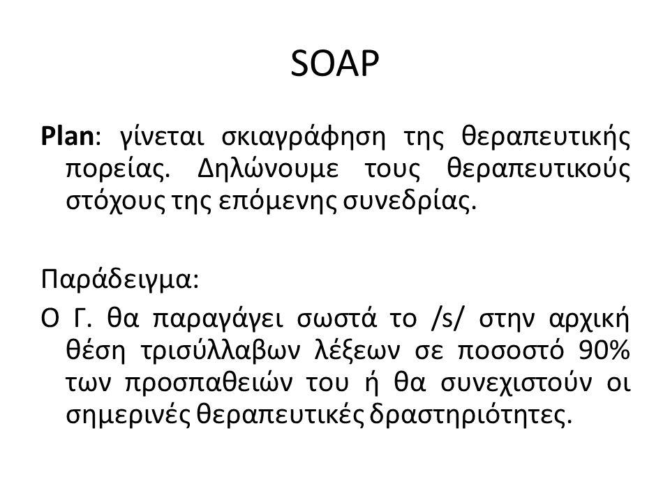 SOAP Plan: γίνεται σκιαγράφηση της θεραπευτικής πορείας. Δηλώνουμε τους θεραπευτικούς στόχους της επόμενης συνεδρίας. Παράδειγμα: Ο Γ. θα παραγάγει σω