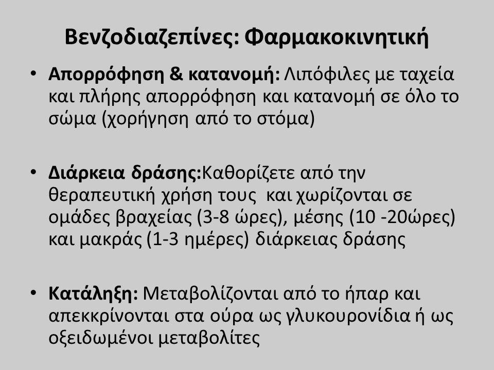 Βενζοδιαζεπίνες: Φαρμακοκινητική Απορρόφηση & κατανομή: Λιπόφιλες με ταχεία και πλήρης απορρόφηση και κατανομή σε όλο το σώμα (χορήγηση από το στόμα)