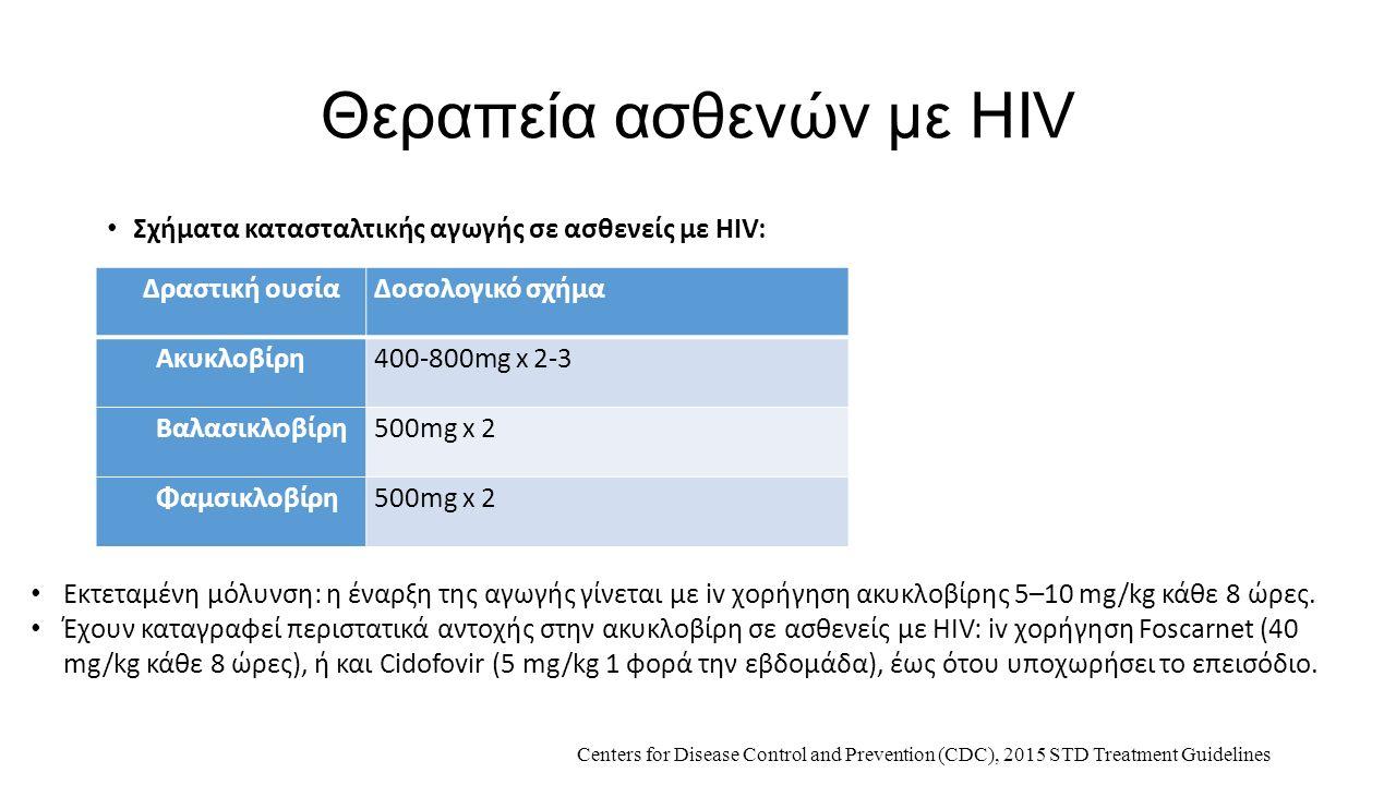 Θεραπεία ασθενών με HIV Σχήματα κατασταλτικής αγωγής σε ασθενείς με HIV: Δραστική ουσίαΔοσολογικό σχήμα Ακυκλοβίρη400-800mg x 2-3 Βαλασικλοβίρη500mg x