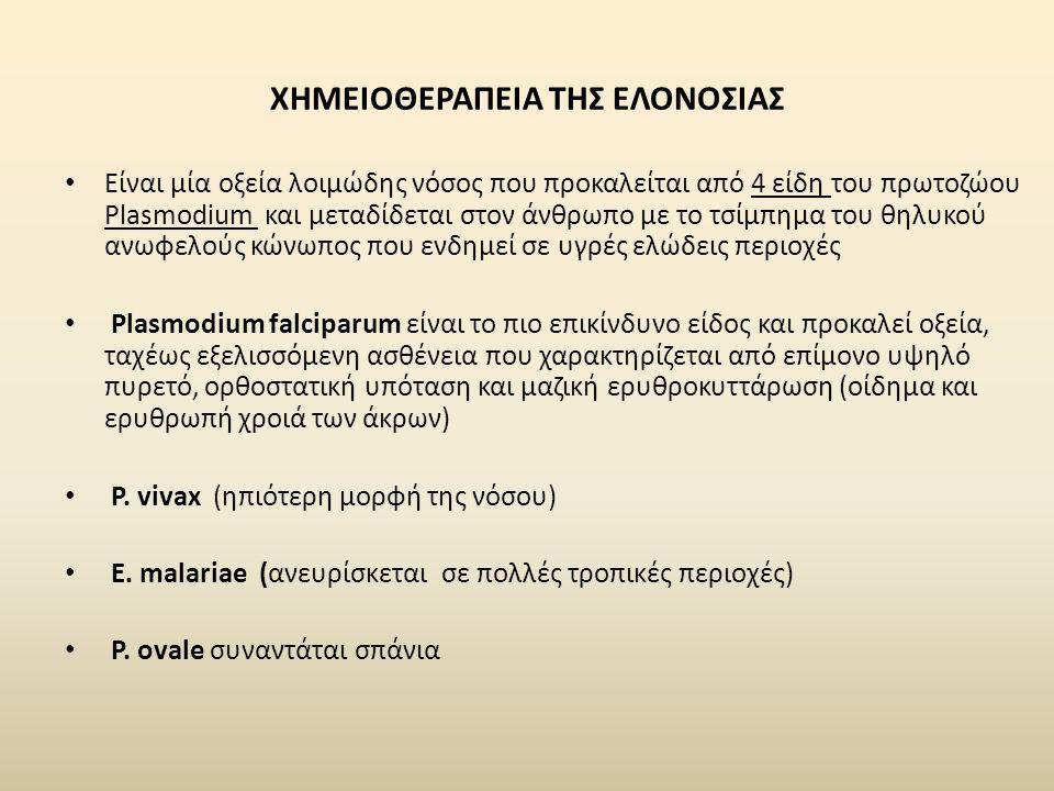 ΧΗΜΕΙΟΘΕΡΑΠΕΙΑ ΤΗΣ ΕΛΟΝΟΣΙΑΣ Είναι μία οξεία λοιμώδης νόσος που προκαλείται από 4 είδη του πρωτοζώου Plasmodium και μεταδίδεται στον άνθρωπο με το τσίμπημα του θηλυκού ανωφελούς κώνωπος που ενδημεί σε υγρές ελώδεις περιοχές Plasmodium falciparum είναι το πιο επικίνδυνο είδος και προκαλεί οξεία, ταχέως εξελισσόμενη ασθένεια που χαρακτηρίζεται από επίμονο υψηλό πυρετό, ορθοστατική υπόταση και μαζική ερυθροκυττάρωση (οίδημα και ερυθρωπή χροιά των άκρων) Ρ.