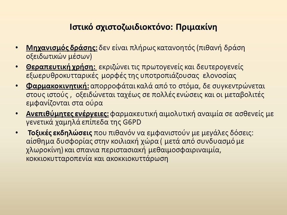 Ιστικό σχιστοζωιδιοκτόνο: Πριμακίνη Μηχανισμός δράσης: δεν είναι πλήρως κατανοητός (πιθανή δράση οξειδωτικών μέσων) Θεραπευτική χρήση: εκριζώνει τις πρωτογενείς και δευτερογενείς εξωερυθροκυτταρικές μορφές της υποτροπιάζουσας ελονοσίας Φαρμακοκινητική: απορροφάται καλά από το στόμα, δε συγκεντρώνεται στους ιστούς, οξειδώνεται ταχέως σε πολλές ενώσεις και οι μεταβολιτές εμφανίζονται στα ούρα Ανεπιθύμητες ενέργειες: φαρμακευτική αιμολυτική αναιμία σε ασθενείς με γενετικά χαμηλά επίπεδα της G6PD Τοξικές εκδηλώσεις που πιθανόν να εμφανιστούν με μεγάλες δόσεις: αίσθημα δυσφορίας στην κοιλιακή χώρα ( μετά από συνδυασμό με χλωροκίνη) και σπανια περιστασιακή μεθαιμοσφαιριναιμία, κοκκιοκυτταροπενία και ακοκκιοκυττάρωση