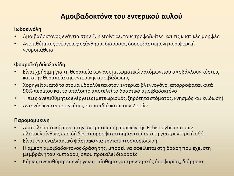 Αμοιβαδοκτόνα του εντερικού αυλού Ιωδοκινόλη Αμοιβαδοκτόνος ενάντια στην E. histolytica, τους τροφοζωίτες και τις κυστικές μορφές Ανεπιθύμητες ενέργει