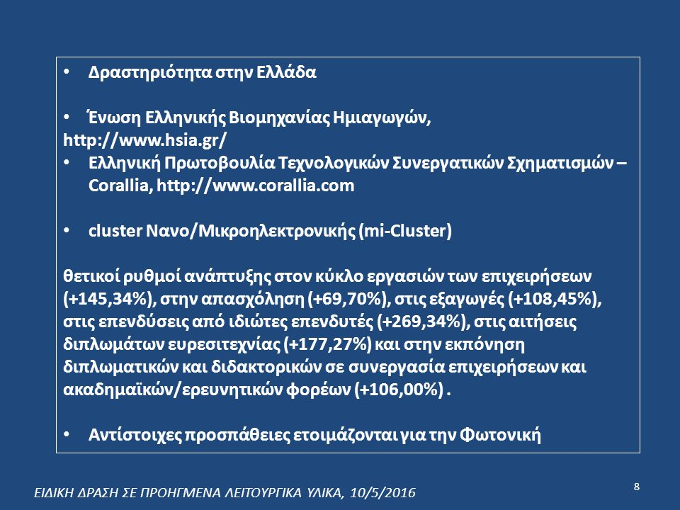 Δραστηριότητα στην Ελλάδα Ένωση Ελληνικής Βιομηχανίας Ημιαγωγών, http://www.hsia.gr/ Ελληνική Πρωτοβουλία Τεχνολογικών Συνεργατικών Σχηματισμών – Corallia, http://www.corallia.com cluster Νανο/Μικροηλεκτρονικής (mi-Cluster) θετικοί ρυθμοί ανάπτυξης στον κύκλο εργασιών των επιχειρήσεων (+145,34%), στην απασχόληση (+69,70%), στις εξαγωγές (+108,45%), στις επενδύσεις από ιδιώτες επενδυτές (+269,34%), στις αιτήσεις διπλωμάτων ευρεσιτεχνίας (+177,27%) και στην εκπόνηση διπλωματικών και διδακτορικών σε συνεργασία επιχειρήσεων και ακαδημαϊκών/ερευνητικών φορέων (+106,00%).
