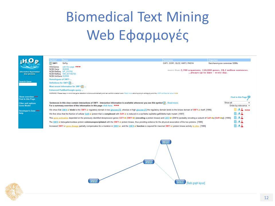 12 Τίτλος Ενότητας Biomedical Text Mining Web Εφαρμογές