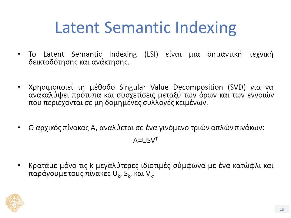 19 Τίτλος Ενότητας Το Latent Semantic Indexing (LSI) είναι μια σημαντική τεχνική δεικτοδότησης και ανάκτησης.