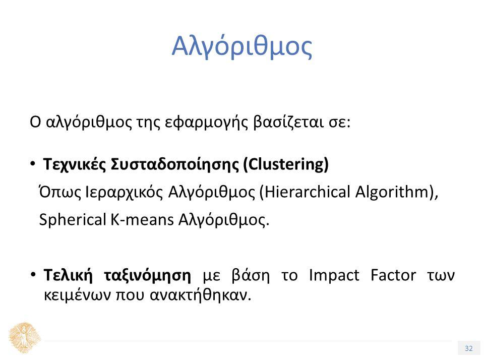 32 Τίτλος Ενότητας Αλγόριθμος Ο αλγόριθμος της εφαρμογής βασίζεται σε: Τεχνικές Συσταδοποίησης (Clustering) Όπως Ιεραρχικός Αλγόριθμος (Hierarchical Algorithm), Spherical K-means Αλγόριθμος.