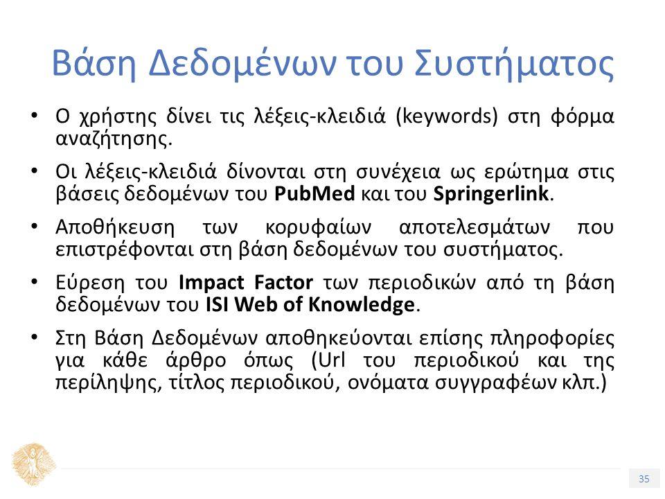 35 Τίτλος Ενότητας Βάση Δεδομένων του Συστήματος Ο χρήστης δίνει τις λέξεις-κλειδιά (keywords) στη φόρμα αναζήτησης.
