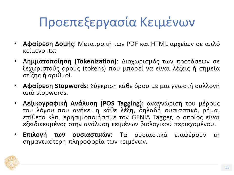 38 Τίτλος Ενότητας Προεπεξεργασία Κειμένων Αφαίρεση Δομής: Μετατροπή των PDF και HTML αρχείων σε απλό κείμενο.txt Λημματοποίηση (Tokenization): Διαχωρισμός των προτάσεων σε ξεχωριστούς όρους (tokens) που μπορεί να είναι λέξεις ή σημεία στίξης ή αριθμοί.