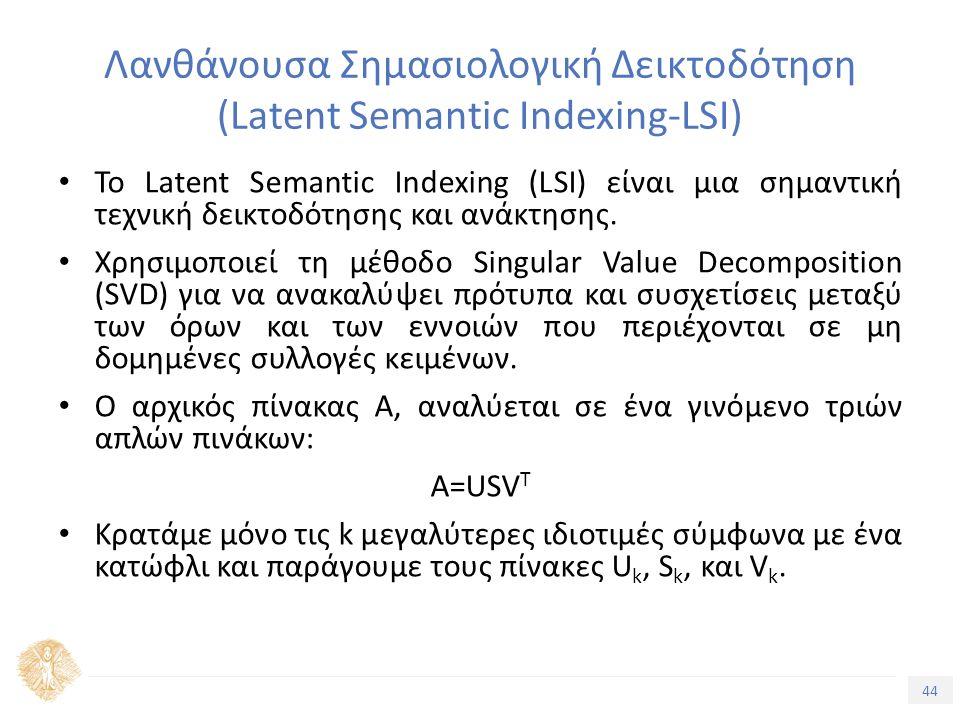 44 Τίτλος Ενότητας Λανθάνουσα Σημασιολογική Δεικτοδότηση (Latent Semantic Indexing-LSI) Το Latent Semantic Indexing (LSI) είναι μια σημαντική τεχνική δεικτοδότησης και ανάκτησης.