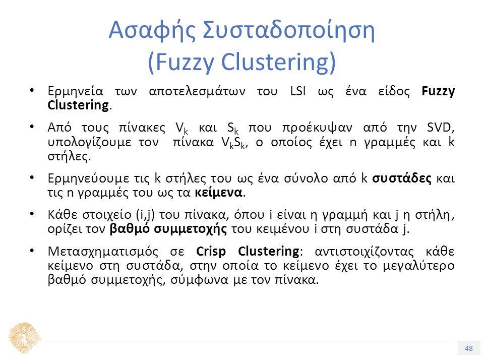 48 Τίτλος Ενότητας Ασαφής Συσταδοποίηση (Fuzzy Clustering) Ερμηνεία των αποτελεσμάτων του LSI ως ένα είδος Fuzzy Clustering.