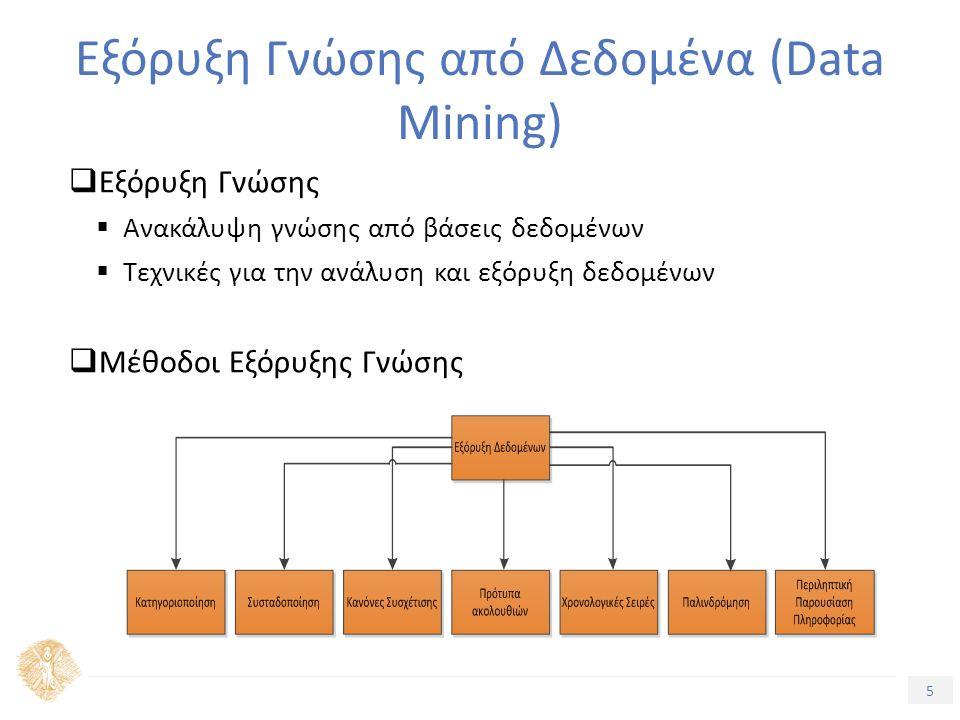 5 Τίτλος Ενότητας  Εξόρυξη Γνώσης  Ανακάλυψη γνώσης από βάσεις δεδομένων  Τεχνικές για την ανάλυση και εξόρυξη δεδομένων  Μέθοδοι Εξόρυξης Γνώσης Εξόρυξη Γνώσης από Δεδομένα (Data Mining)