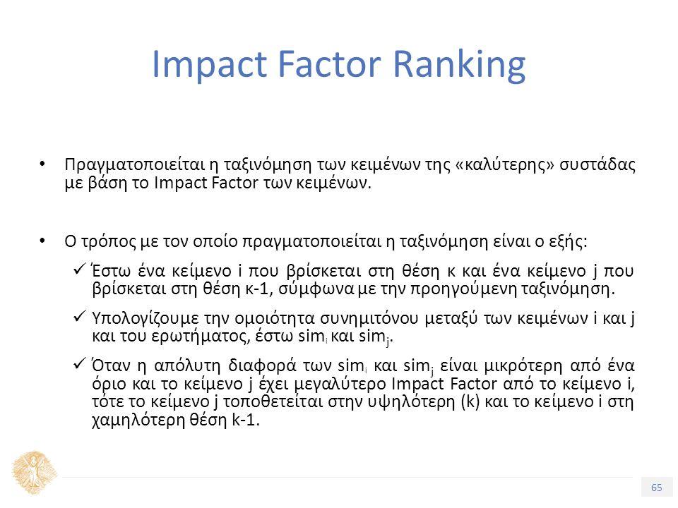 65 Τίτλος Ενότητας Impact Factor Ranking Πραγματοποιείται η ταξινόμηση των κειμένων της «καλύτερης» συστάδας με βάση το Impact Factor των κειμένων.
