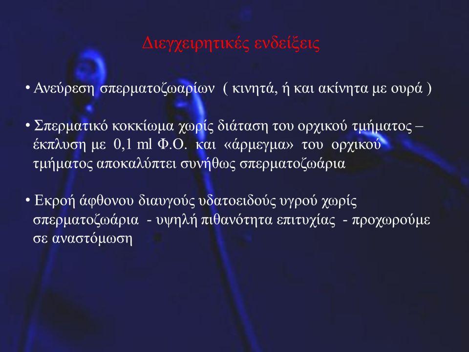 Διεγχειρητικές ενδείξεις Ανεύρεση σπερματοζωαρίων ( κινητά, ή και ακίνητα με ουρά ) Σπερματικό κοκκίωμα χωρίς διάταση του ορχικού τμήματος – έκπλυση μ