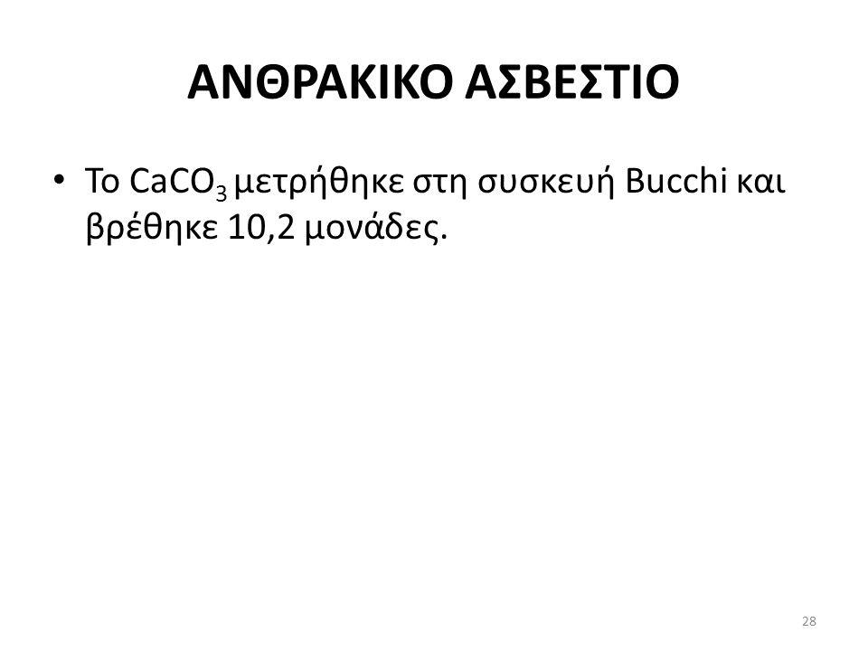 ΑΝΘΡΑΚΙΚΟ ΑΣΒΕΣΤΙΟ Το CaCO 3 μετρήθηκε στη συσκευή Bucchi και βρέθηκε 10,2 μονάδες. 28