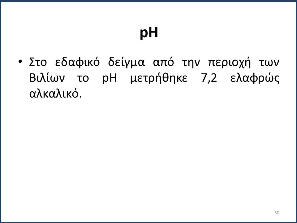 pH Στο εδαφικό δείγμα από την περιοχή των Βιλίων το pH μετρήθηκε 7,2 ελαφρώς αλκαλικό. 30