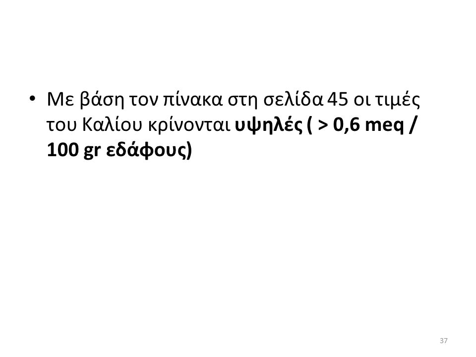 Με βάση τον πίνακα στη σελίδα 45 οι τιμές του Καλίου κρίνονται υψηλές ( > 0,6 meq / 100 gr εδάφους) 37