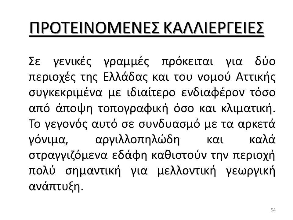 ΠΡΟΤΕΙΝΟΜΕΝΕΣ ΚΑΛΛΙΕΡΓΕΙΕΣ Σε γενικές γραμμές πρόκειται για δύο περιοχές της Ελλάδας και του νομού Αττικής συγκεκριμένα με ιδιαίτερο ενδιαφέρον τόσο α