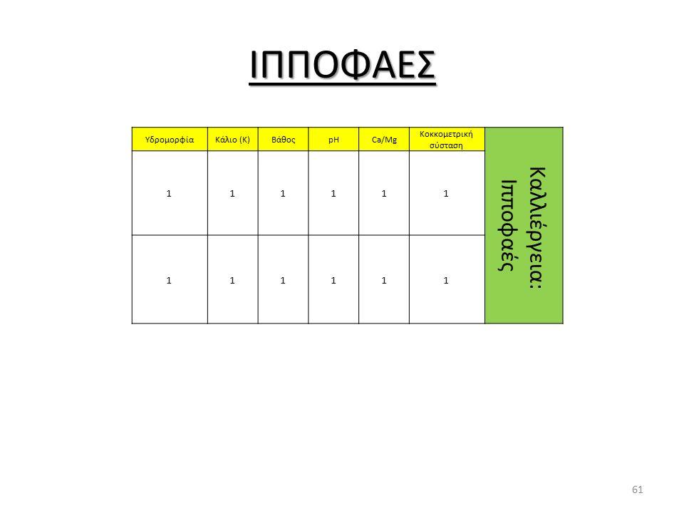 ΙΠΠΟΦΑΕΣ ΥδρομορφίαΚάλιο (Κ)ΒάθοςpHCa/Mg Κοκκομετρική σύσταση Καλλιέργεια: Ιπποφαές 111111 111111 61
